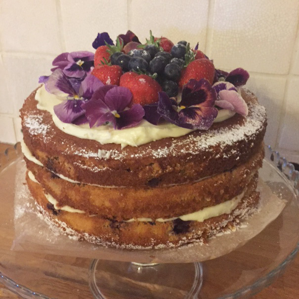 Blueberry & Lemon Cake with Edible Flowers