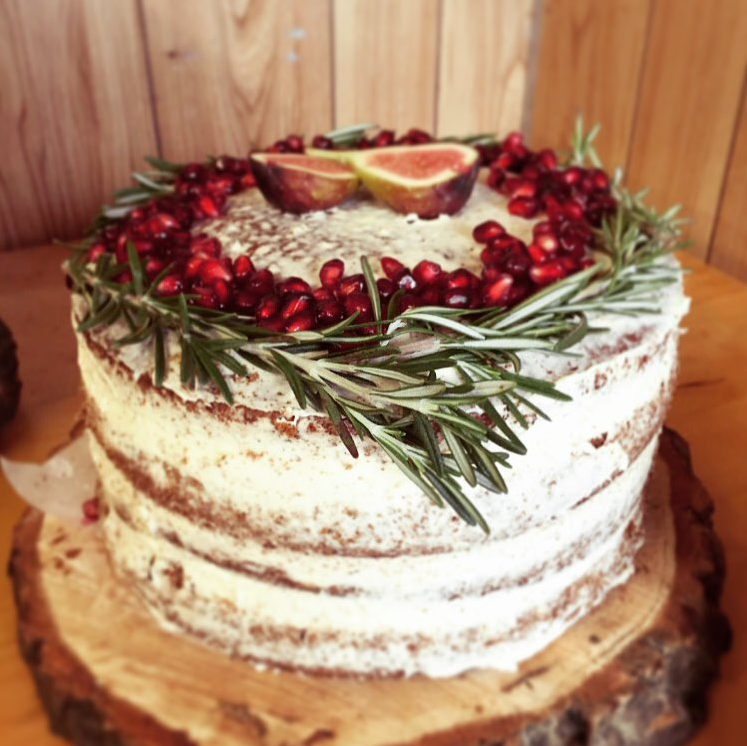 Winter Vanilla Naked Cake decorated with Rosemary, Figs & Pomegranate