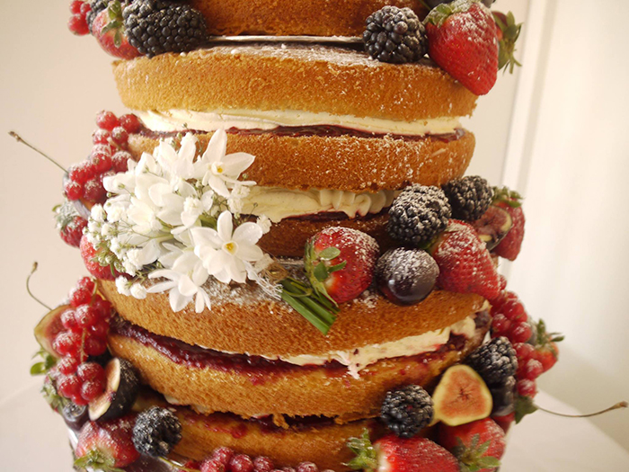 Naked Wedding Cake with Summer Fruits