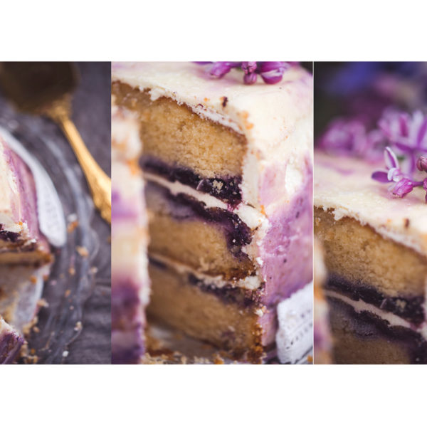 Triple layer Violet Ombre Cake with Blueberries