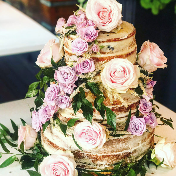Semi-Naked Wedding Cake with Fresh Roses